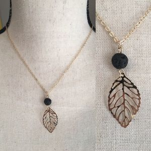 Gold leaf and lava stone aromatherapy necklace